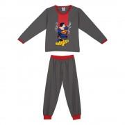 Pijama Masculino Infantil Lupo Flanelado Cinza com Vermelho Personagem Superman