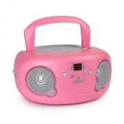 Auna Pink Bonbon CD Boombox, CD lejátszó, bluetooth, FM, AUX-IN, LED kijelző, rózsaszín (KBB-813-Pink Bonbon)
