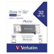 Pendrive, 32GB, USB 3.0, Lightning csatlakozó, VERBATIM Lightning grafit szürke (UV32GLG3)