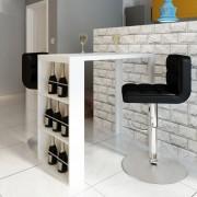 vidaXL Barový stolík, MDF, so stojanom na víno, vysoký lesk, biely