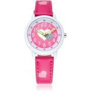 Meisjes Horloge - Hartjes – Leren Bandje – Donker Roze - Girls Watch