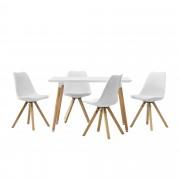 [en.casa]® Dizajnový jedálenský stôl - 120 x 70 cm - biely a 4 biele stoličky