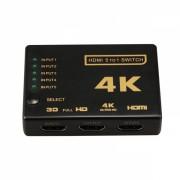 Switch HDMI 2.0 HDCP 2.2 4K x 2K 60Hz RGB 4:4:4 HDR10 5in 1 out cu teleocmanda IR, negru