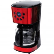 Cafetiera digitala Heinner HCM-1500RDIX, 900 W, 1.5 L, Timer, Display Led, fara BPA, Rosu/Negru