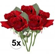 Bellatio flowers & plants 5x Rode rozen kunstbloemen 30 cm