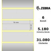 Etichette Zebra - Z-Ultimate 3000T Silver, formato 76 x 25