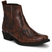Delize Brown Cowboy Ankle Boot For Mens