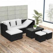 Set mobilier de grădină 12 piese, poliratan, negru
