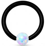 Opal Ball Closure Ring Zwart
