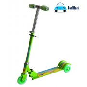 FunBlast Scooters for Kids, 3 Wheeled Metal Folding Skate Scooter (Green)