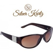 Silver Kartz Wayfarer, Wrap-around Sunglasses(Brown)
