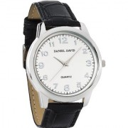 Daniel David Men's   Classic Watch With Crocodile Pattern & White Dial (Genuine Leather Band)   DD10701
