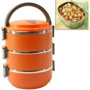 NEW 3 Container 2100 ML Thermos Insulated Hot Lunch Pack Tiffin Box Set Of 1 Pic