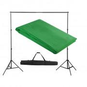 vidaXL System zawieszenia tła z zielonym tłem 300 x 300 cm