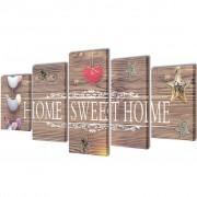 vidaXL Декоративни панели за стена Home Sweet Home Design, 200 x 100 см