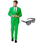 Groen heren kostuum / pak - maat 54 (XXL) met gratis zonnebril