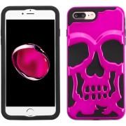 Funda Case Para Iphone 8 Plus / Iphone 7 Plus Doble Protector De Uso Rudo - Calavera Rosa