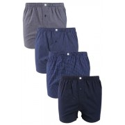 Mens Next Pattern Woven Boxers Four Pack - Navy