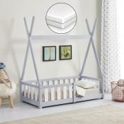 [en.casa]® Gyerekágy fenyőfa matraccal gyermek kiságy védőráccsal indiánsátor kialakítás világosszürke