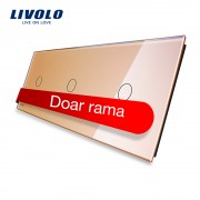 Panou intrerupator simplu+simplu+simplu cu touch Livolo din sticla, auriu
