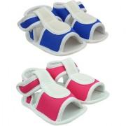 Neska Moda Unisex Baby Blue And Pink Anti Slip Velcro Sandal For 0 To 12 Months
