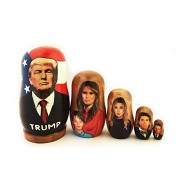 President Donald Trump Family Russian Wooden Nesting Doll 5 Nested 3 1/2 Inch by AIntl