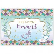 Allenjoy 6x4ft Under The Sea Little Mermaid Princess Backdrop Purple Pink Scales Glare Glitter Ocean Nautical for Birthday Party Girl Baby Shower Backdrops Background