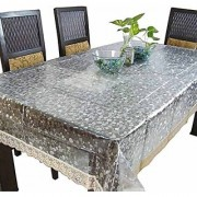 ZITIN Dining Table Cover 6 Seater Waterproof 3D Diamond Design with Golden Lace Size 54 78 Inches