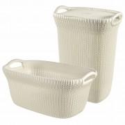 Curver Ladă și coș de rufe Knit, alb, 97 L, 240685