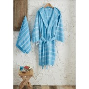 Set halat si prosoape de baie, Ceramica ,albastru, dimensiuni prosop: 50 x 95 cm