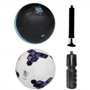 Combo of City Black/Blue + Premier League Purple Football (Size-5) with Air Pump & Sipper