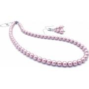 Set colier si cercei perle Swarovski 38 cm Pink Drops Zia Fashion