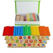 BBLIKE Wooden Learning Counting Stick Calculation Math Educational Toy Wooden Numbers Mathematics and Alphabet Number Wooden Puzzles Set with Storage Box For Baby Kids