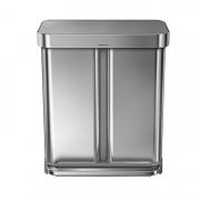 Cos de gunoi dublu compartimentat cu pedala, SimpleHuman, 58 L, CW2025, inox, Argintiu