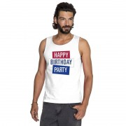 Toppers official merchandise Wit Toppers Happy Birthday party mouwloos shirt heren