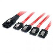 StarTech SAS8087S450 Cable Adaptador Mini SAS Serial Attached SCSI SFF 8087 mSAS iSAS Interno a 4X SATA Cierre Latching Pestillo, Color Rojo, 50 cm