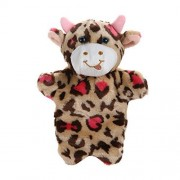 Chinatera Baby Kids Adorable Cartoon Floral Cow Hand Puppet Farm Animal Story Telling Prop Easily Animate Play Glove Soft Fur Doll Plush Toy