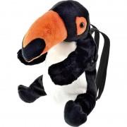 Merkloos Zwarte toekan vogel rugzak/rugtas knuffels 32 cm knuffeldieren