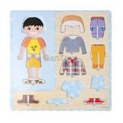 Alcoa Prime 10 Pieces Wooden Peg Puzzle Boy Change Clothes Dress Up Jigsaw Puzzles Toys