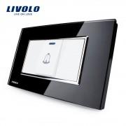 Buton sonerie Livolo din sticla - standard italian, negru