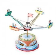Alcoa Prime SPINNING CAROUSEL SPACESHIP MERRY GO ROUND TIN TOY IN BOX COLLECTIBLE