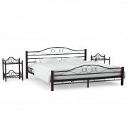 vidaXL Рамка за легло с 2 нощни шкафчета, черни, метал, 180x200 cм