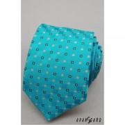 Tyrkysová kravata s drobnými kostkami Avantgard 559-1251-1