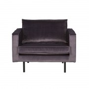 sillón terciopelo gris oscuro Rodeo