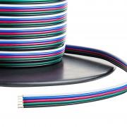 Színes vezeték , RGBW LED szalaghoz , 5 eres (fekete/fehér/kék/piros/zöld)