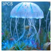 3 PCS Acuario Silicona Fluorescente Articulos Decoracion Simulación Sucker Medusas, Tamaño: 3,5 * 11cm (azul)