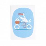 Dille&Kamille Carte, cicogneà vélo, bleue
