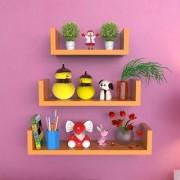 Onlineshoppee MDF Handicraft Wall Decor U-shaped Designer Wall Shelf Pack of 3 - Orange