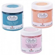 Rayher Peinture craie Chalky Finish 118 ml x 3 - orange-rose-bleu