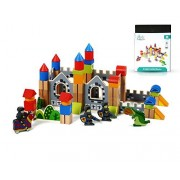 New & Unique Knight & Dragon Castle Wooden Building Block Set for Toddlers Preschool Age - Hardwood Plain & Colored Small Wood Blocks for Children - Basic Educational Kids Build & Play Toy